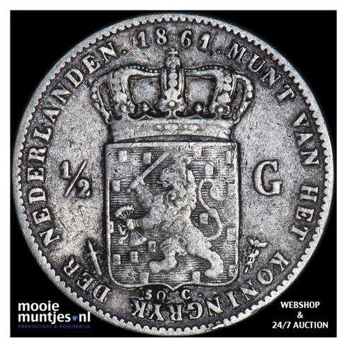 ½ gulden - Willem III - 1861 (kant A)