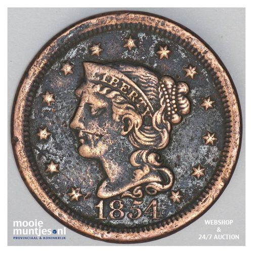 cent - braided hair - United States of America/Circulation coinage 1854 (KM 67)