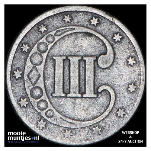 silver 3 cents - type 1 - United States of America/Circulation coinage 1853 (KM