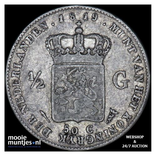 ½ gulden - Willem I - 1819 Utrecht (kant A)