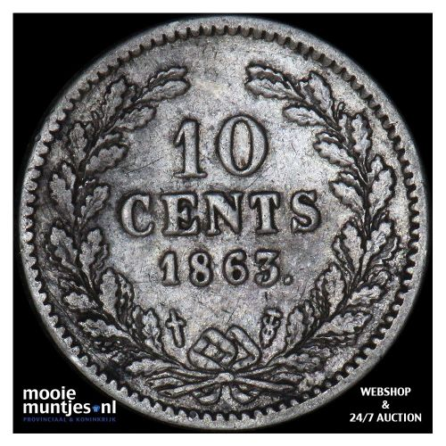 10 cent - Willem III - 1863 (kant A)
