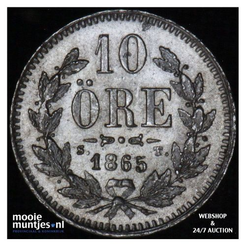 10 ore - Sweden 1865 (KM 710) (kant A)