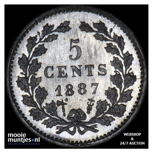 5 cent - Willem III - 1887 (kant A)