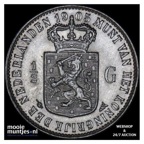 ½ gulden - Wilhelmina - 1905 (kant A)