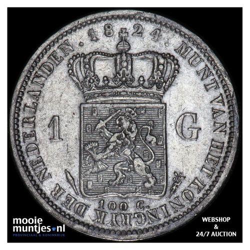 1 gulden - Willem I - 1824 b Utrecht (kant A)