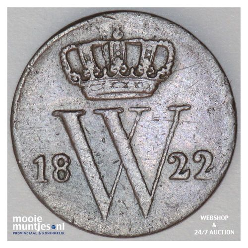 ½ cent - Willem I - 1822 (kant A)