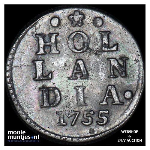 Holland - Dubbele wapenstuiver - 1745 (kant A)