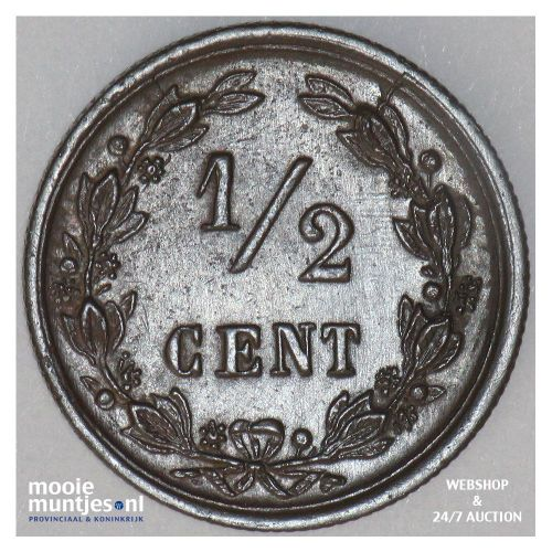 ½ cent - Willem III - 1886 (kant B)