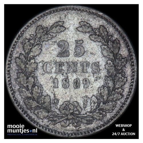 25 cent - Willem III - 1889 (kant A)
