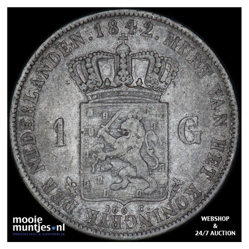 1 gulden - Willem II - 1842 a (kant A)