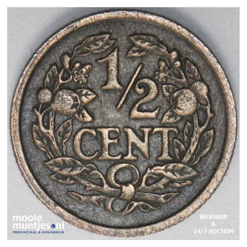 ½ cent - Wilhelmina - 1922 over 21 (kant B)