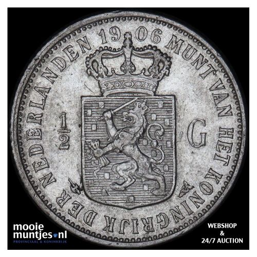 ½ gulden - Wilhelmina - 1906 (kant A)