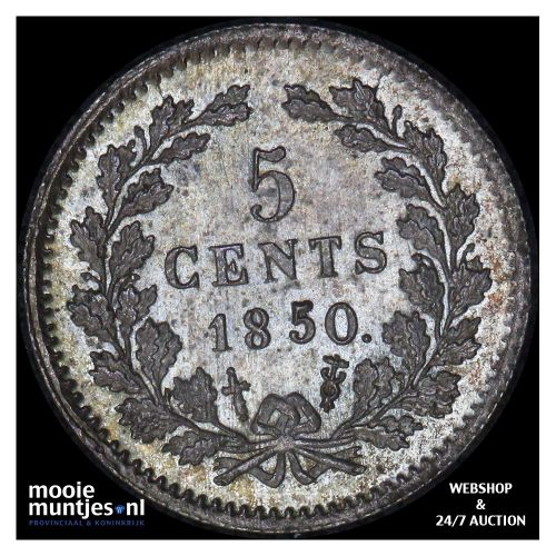 5 cent - Willem III - 1850 (kant A)