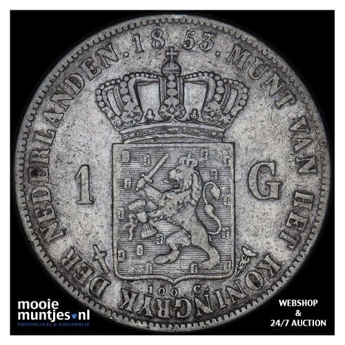 1 gulden - Willem III - 1853 over 51 (kant A)