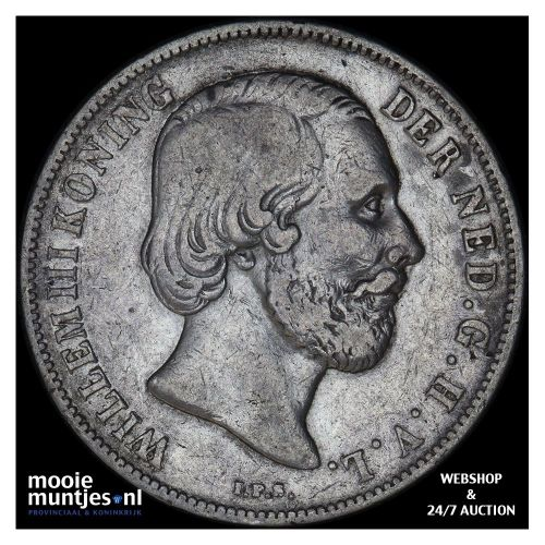 1 gulden - Willem III - 1853 over 51 (kant B)