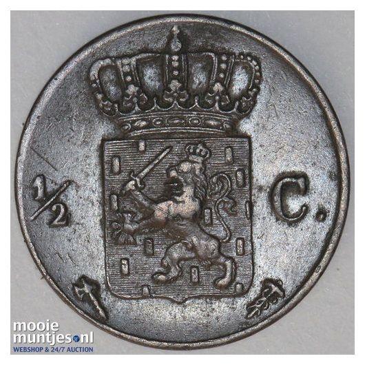 ½ cent - Willem III - 1857 (kant B)