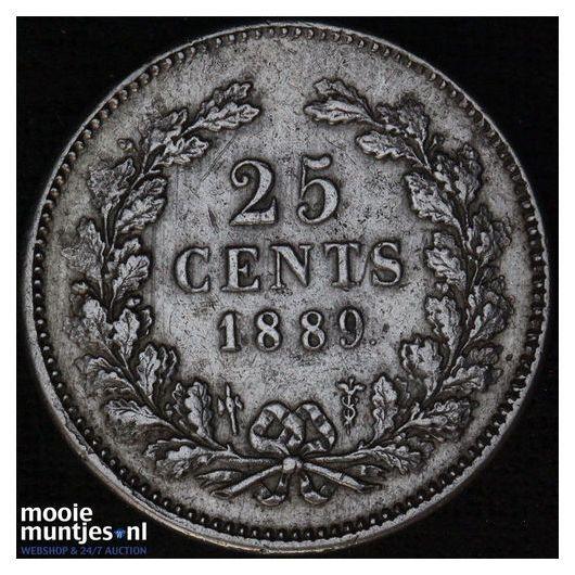 25 cent - Willem III - 1890 (kant A)