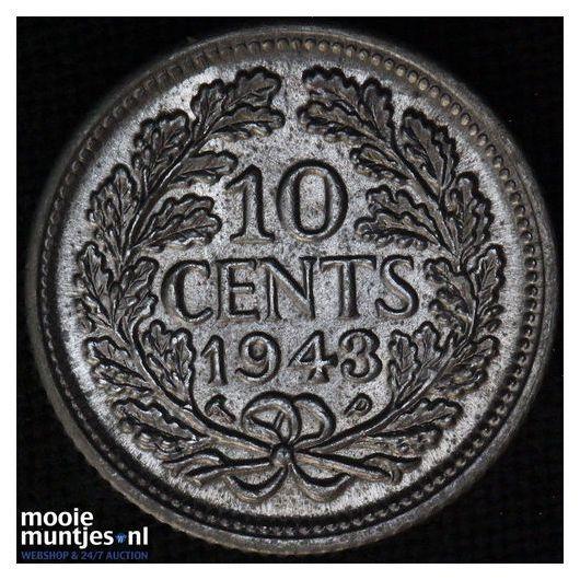 10 cent - Wilhelmina - 1944 ES (kant A)