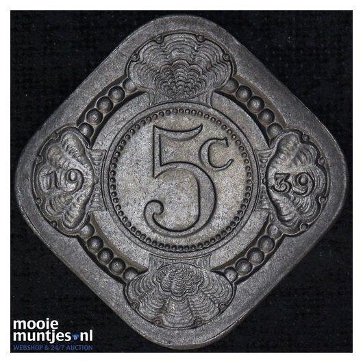 5 cent - Wilhelmina - 1939 (kant A)