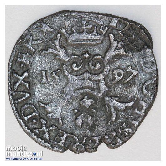 Brabant-Maastricht - Achtste stuiver of duit van 6 mijten - 1588 (kant A)