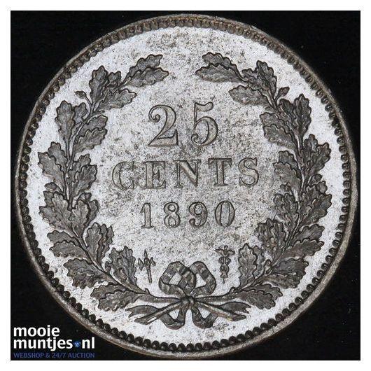 25 cent - Willem III - 1890 a (kant A)