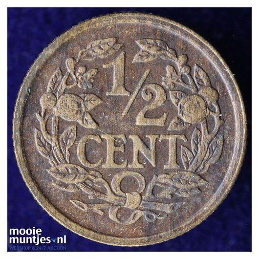 ½ cent - Wilhelmina - 1922 over 21 (kant B)