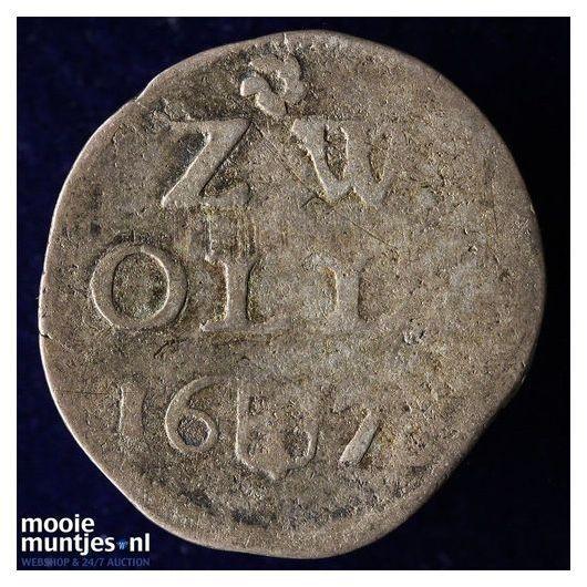 Zwolle - Dubbele stuiver - 1677 (kant A)